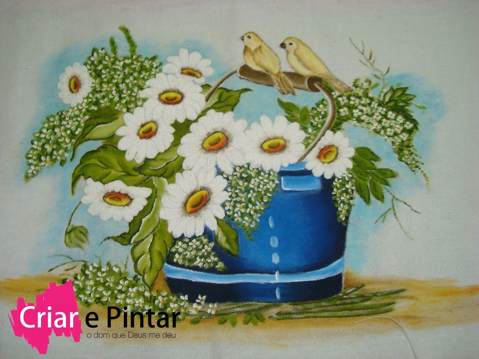 Flores+balde+com+margaridas+pintado.JPG (1600×1200)