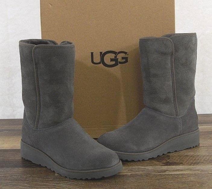 UGG Australia Womens Amie Classic Slim Suede Sheepskin Boots 8 MED GREY  1013428  fashion   c1cafa2281