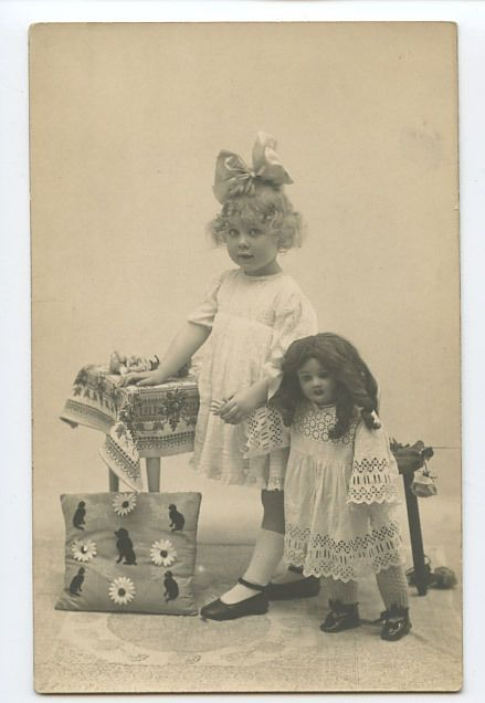 Young Blond Child Girl with HUGE Big Doll original old 1910s photo postcard