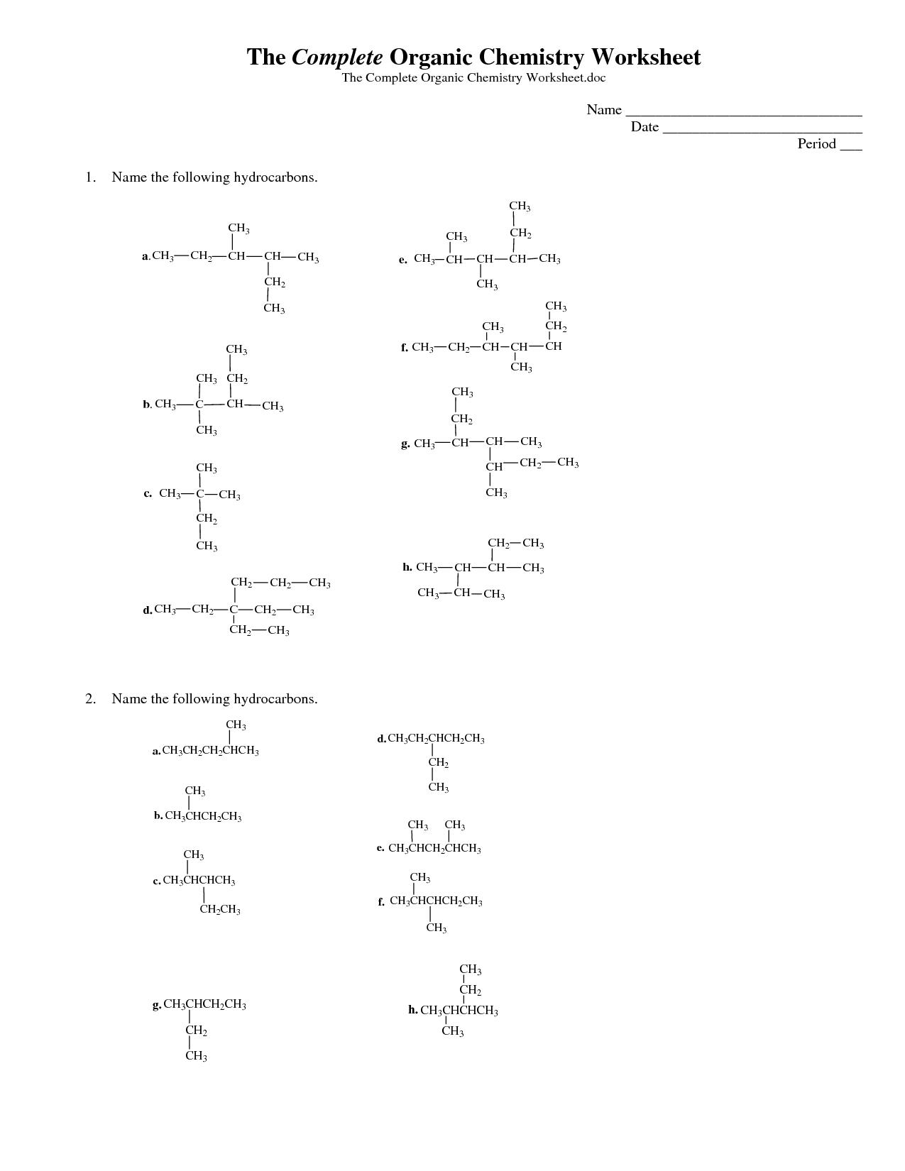 Printables Naming Organic Compounds Worksheet chemistry naming worksheet davezan organic davezan