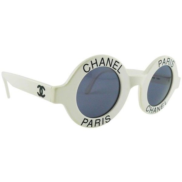 23df013120b Preowned Chanel Extremely Rare Vintage 1990s White Logo Sunglasses (279.740  RUB) ❤ liked on Polyvore featuring accessories