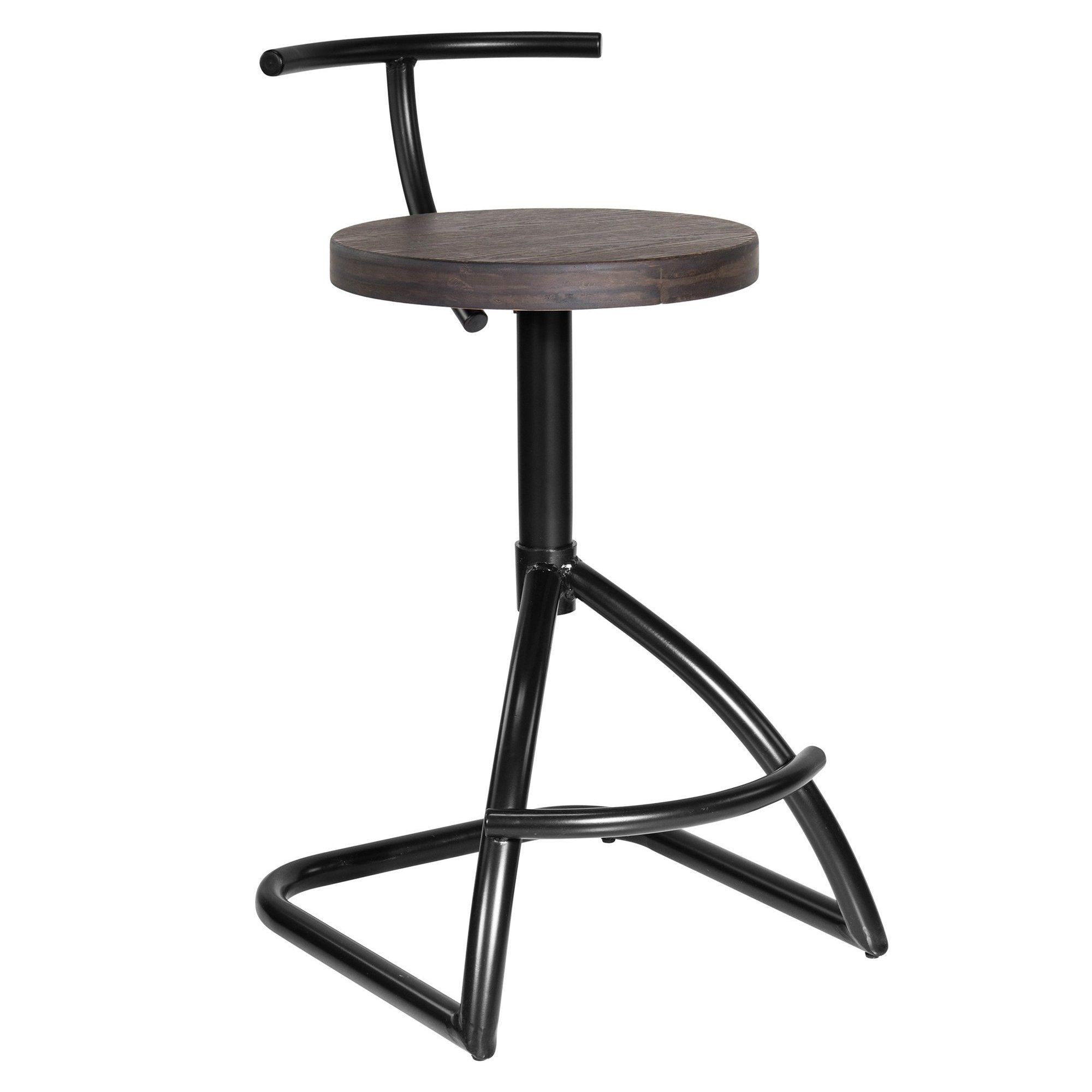 Mantis Industrial Style Counter Stool In Black Metal With Espresso Wood Seat Stool Counter Stools Industrial Style