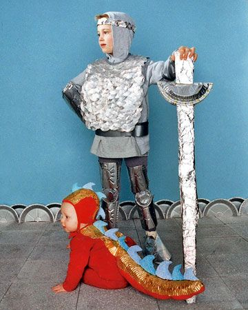 Knight and Dragon    A knight in shining...foil? A costume for a daring knight and an imposing little dragon are quite easy to make using basic kitchen supplies.    How to Make the Knight and Dragon Costumes    Next: Raven