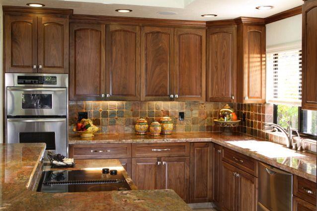 fascinating modern walnut kitchen cabinets | Backspash interesting. Like the indirect under-counter ...