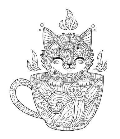Kitten In Cup For Adult Antistress Coloring Page Stock Vector