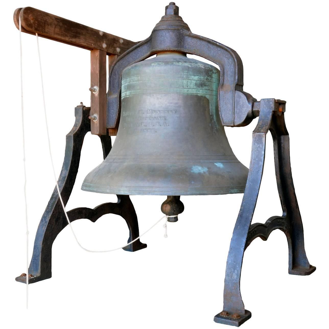 Early American Solid Bronze Bell with Decorative Cast Iron Support