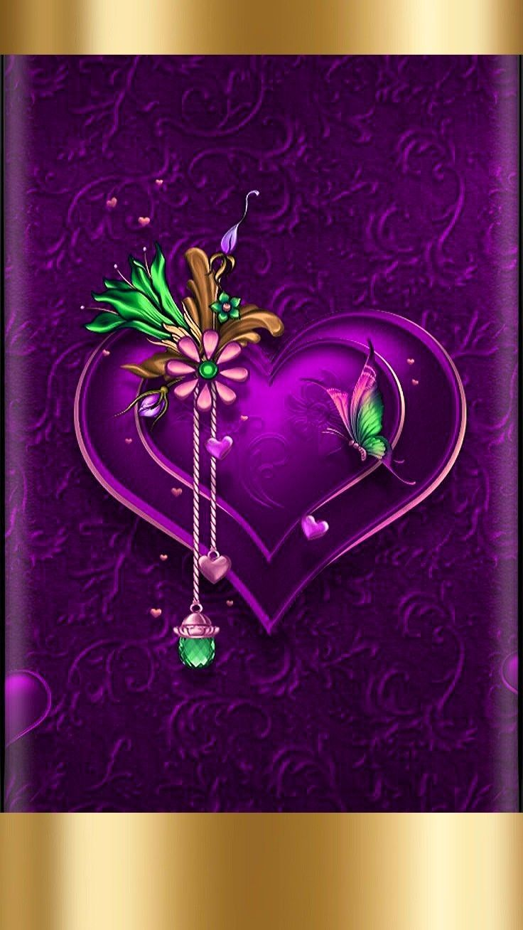 purple & gold love heart crested wallpaperartist moi