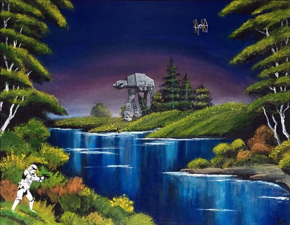 Blue River Invasion Bob Ross Style Star Wars Painting Bob Ross Paintings Bob Ross Art Star Wars Painting