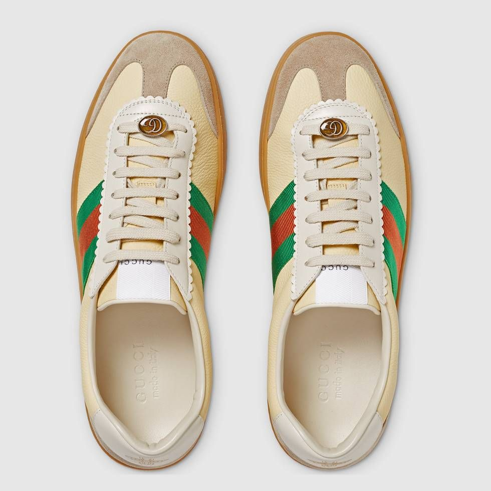reputable site e12f1 011f1 Shop the Leather and suede Web sneaker by Gucci. Inspired by retro  basketball shoes from