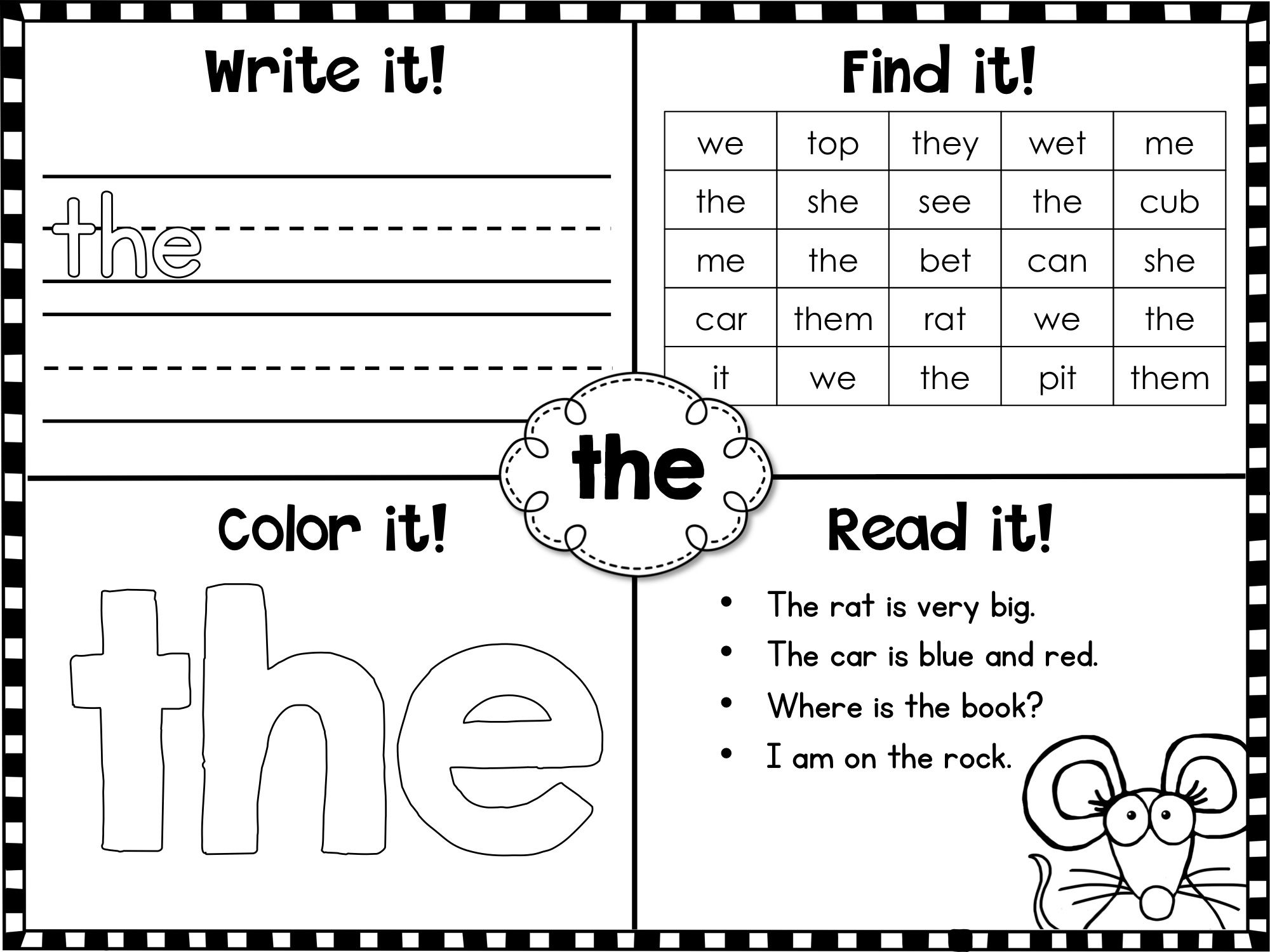 Fry Sight Words First 100 Printables 100 words