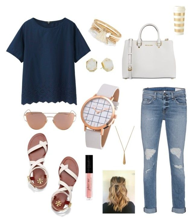 """""""daily"""" by maddaybay on Polyvore featuring Uniqlo, rag & bone, Tory Burch, MICHAEL Michael Kors, River Island, Kendra Scott, Gucci and Kate Spade"""