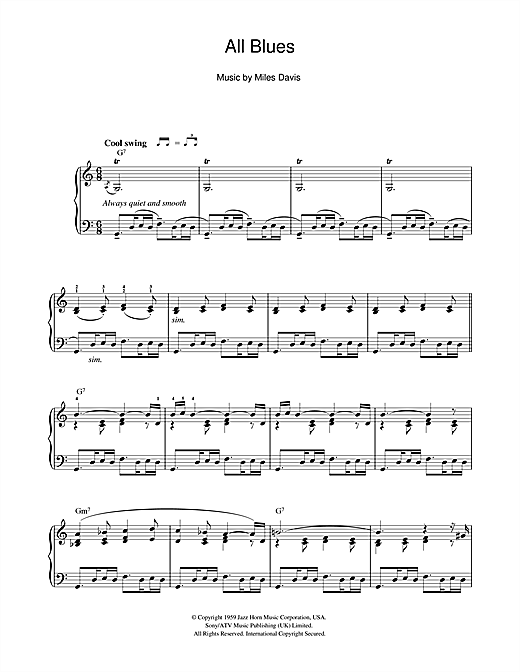 Miles Davis 'All Blues' Sheet Music Notes, Chords | Download
