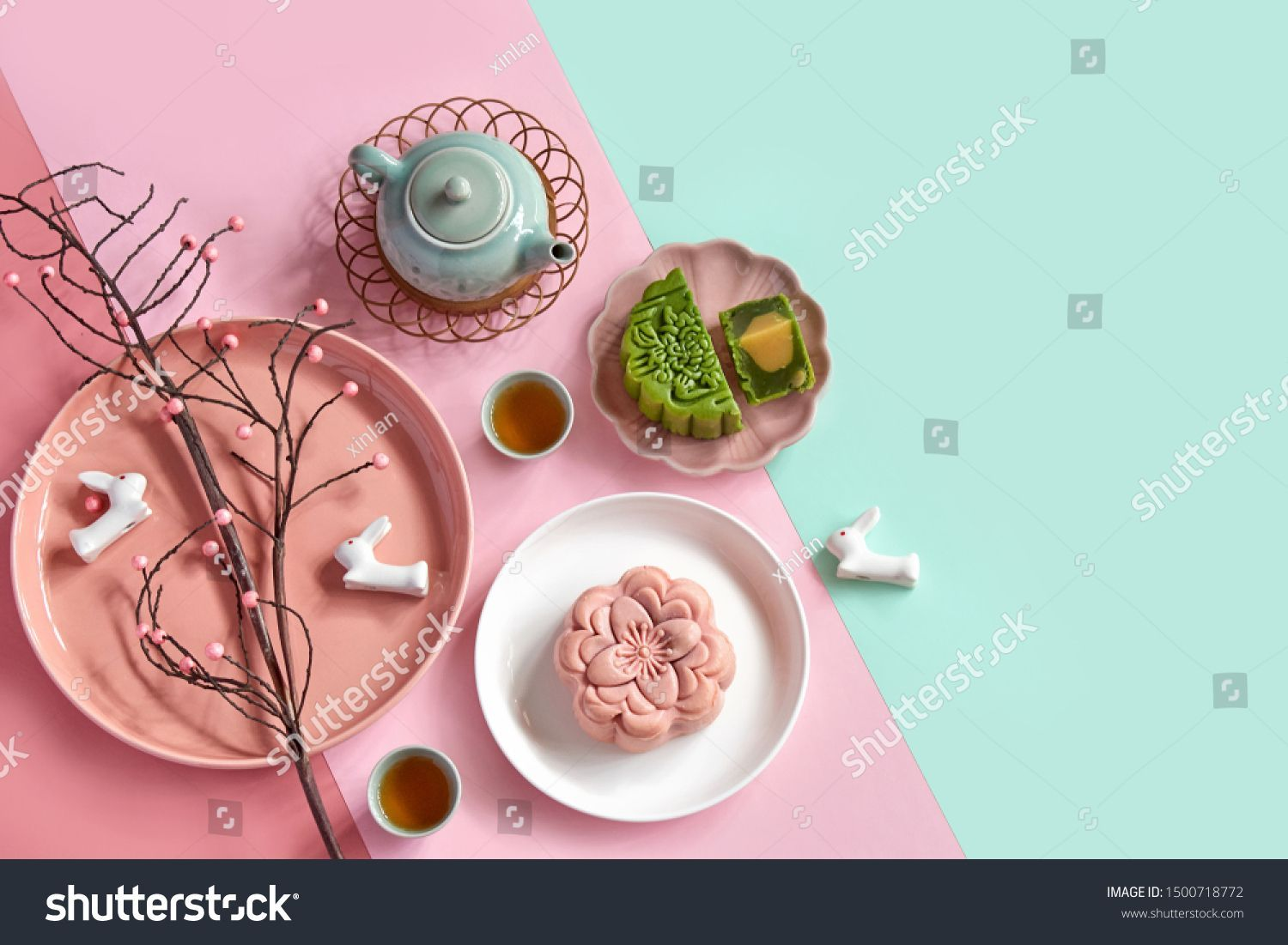 Mid Autumn Festival Moon Cake Serve Stock Photo (Edit Now) 1500718772 #mooncake Mid autumn festival. Moon cake serve on plate with decoration isolated on colorful background. #Sponsored , #affiliate, #Moon#cake#festival#Mid #mooncake