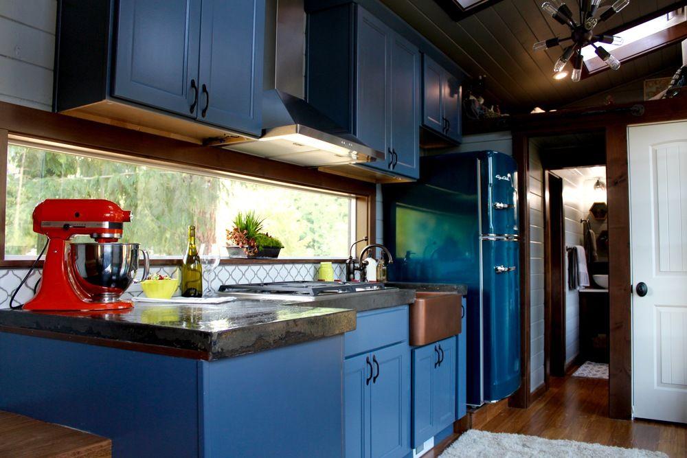 The Color Blue Concrete Counter Top Fridge Copper A Sink Sky Light Luxurious Tiny Heirmloom Custom Homes 2
