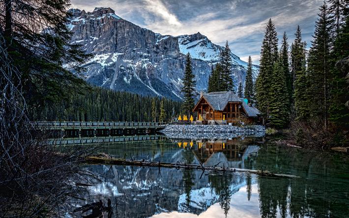 Download wallpapers Canadian Rocky Mountains, 4k, bridge