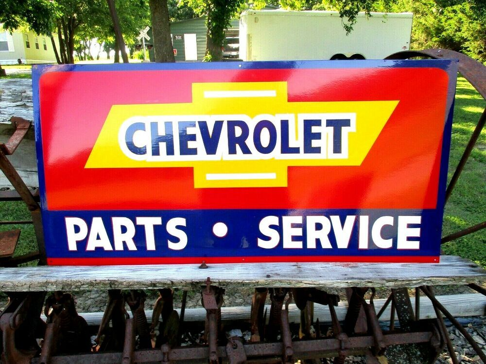 Vintage Metal Chevy Chevrolet Used Cars Parts Service Gas 36 Hand Painted Sign Used Car Parts Painted Signs Hand Painted Signs