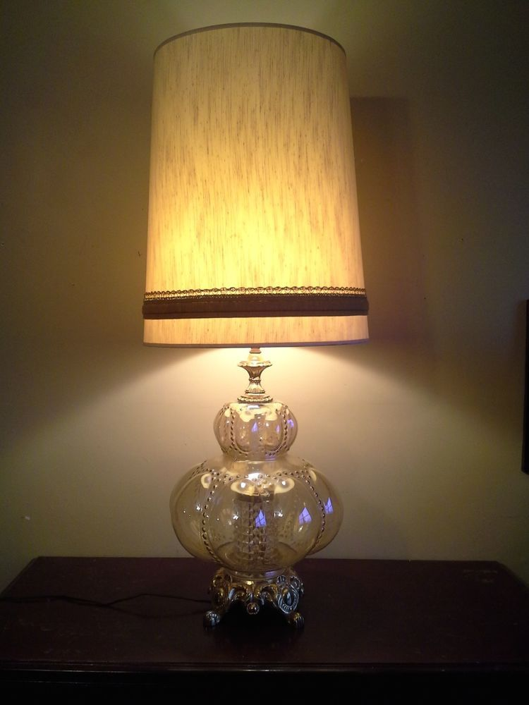 Monumental Carnival Glass Crystal Diffuser Vintage Table Lamp