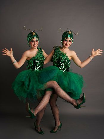 Green Sequined Extras From 'Great Gatsby'  Two extras show off green-sequined skirts from The Great Gatsby's 1920s flapper style.