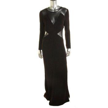 ABS by Allen Schwartz Womens Metallic Mesh Inset Evening Dress