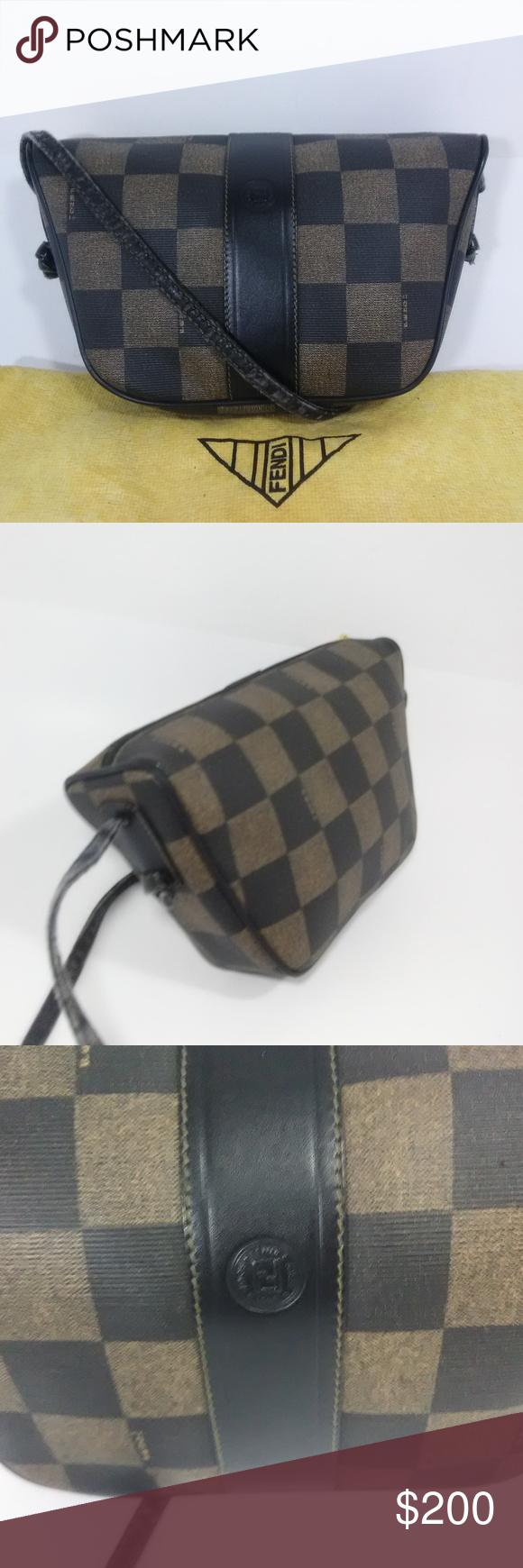 efbd525416 FENDI Vintage Roma Checkered Print Crossbody Bag FENDI Roma Italy 1925  S.A.S Checkered Print Crossbody Bag