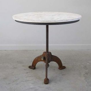 Marble Topped Antique Bistro Table With Cast Iron Base   Marble Topped  Industrial Bistro Table With Cast Iron Base