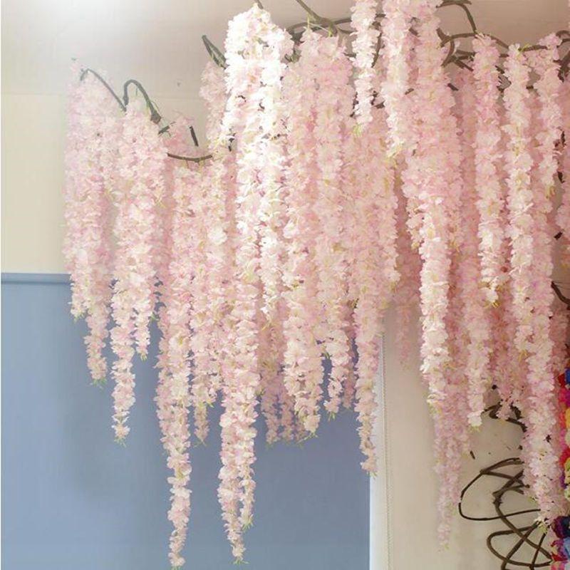 Cheap Artificial Dried Flowers Buy Directly From China Suppliers 88cm Cherry Blossom V Teto De Casamento Decoracoes De Teto Para Casamento Decoracao Do Teto
