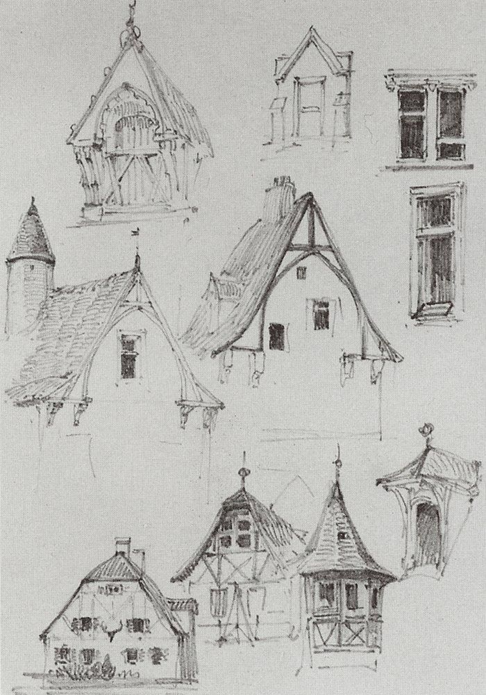 simple architectural sketches. Beautiful And Simple Sketches Of Bavarian Type Buildings. Architectural Sketches. From Travelling In Germany U