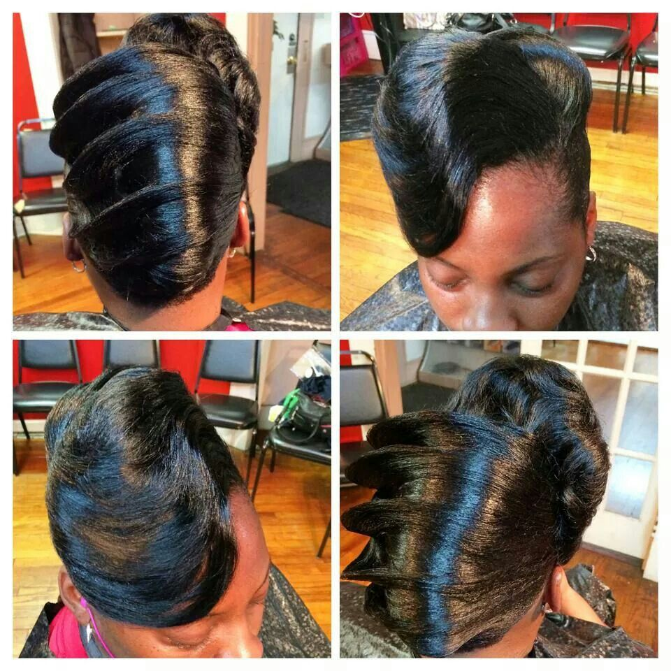 Pin by chasity TATE on Hair | Roll hairstyle, Black hair updo hairstyles, Beautiful black hair