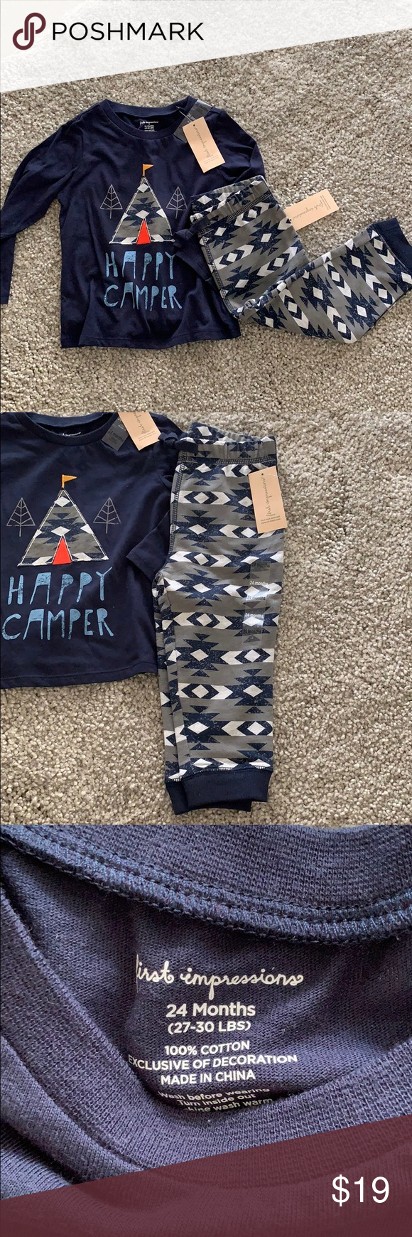 d1f57a7b2 First Impressions - Happy Camper tee and joggers Super cute brand new  little boys matching tee with printed joggers First Impressions Matching  Sets