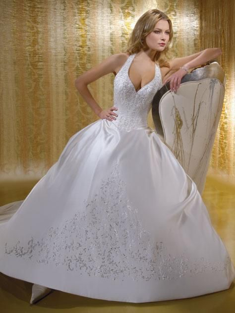 Ball Gown Halter Top Cathedral Train Satin wedding dress I like the ...