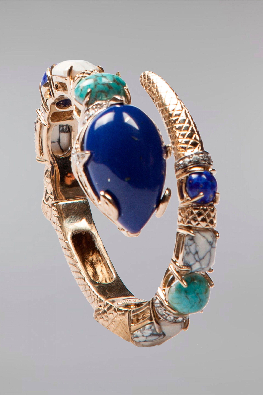 Braccialetto rigido da donna bracciale bronzo elegante serpente fiore con pietre