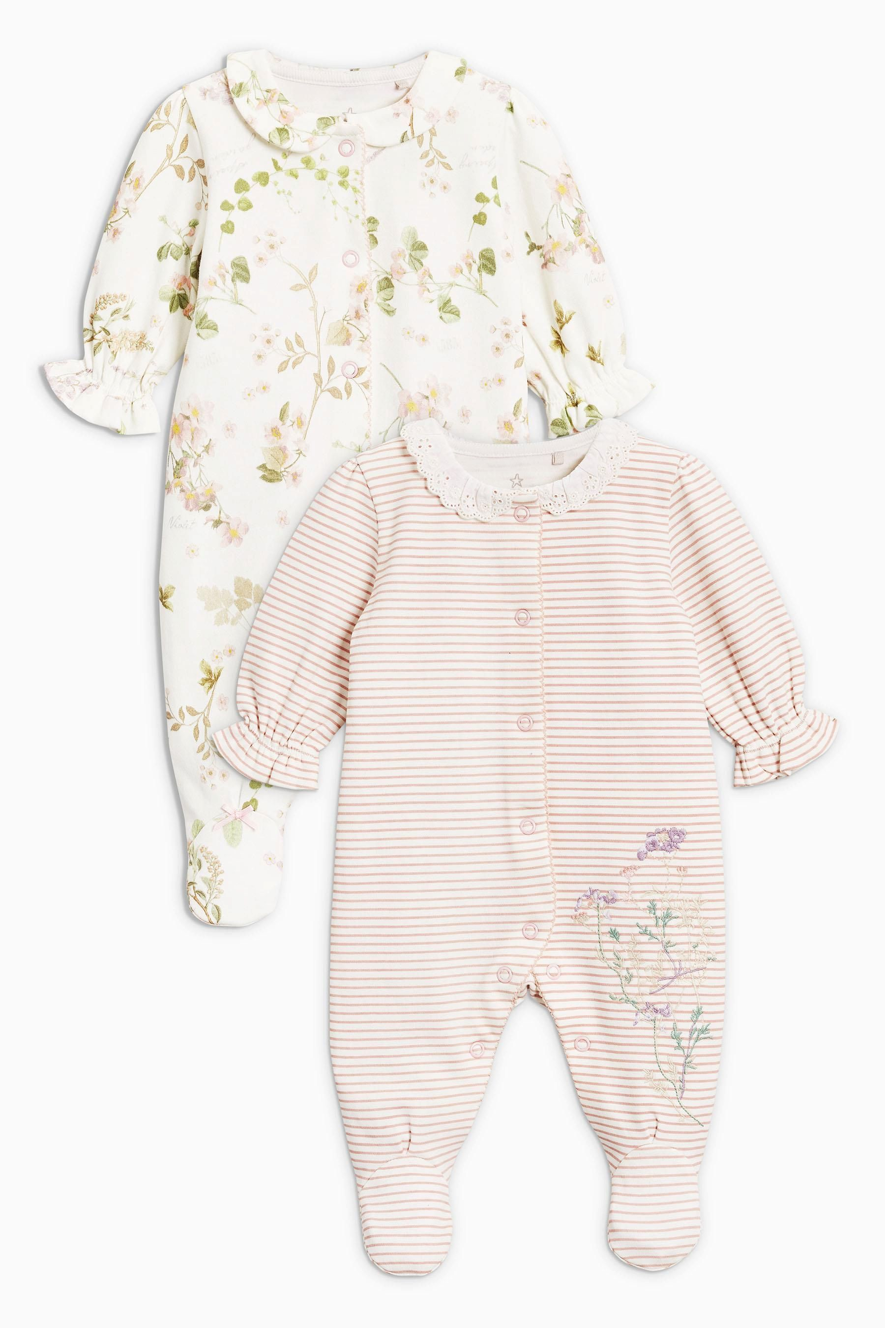 acd5b5e41 Buy Ecru Pink Floral Sleepsuits Two Pack (0mths-2yrs) from the Next ...