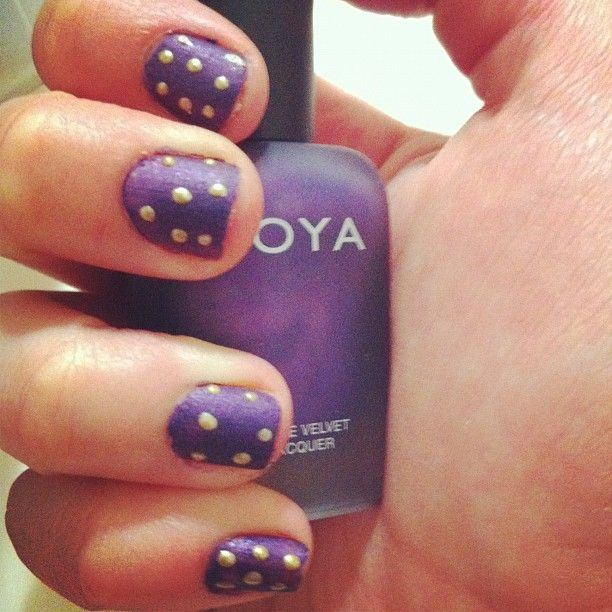 Zoya Nail Polish in Savita with gold polka dots via Instagram