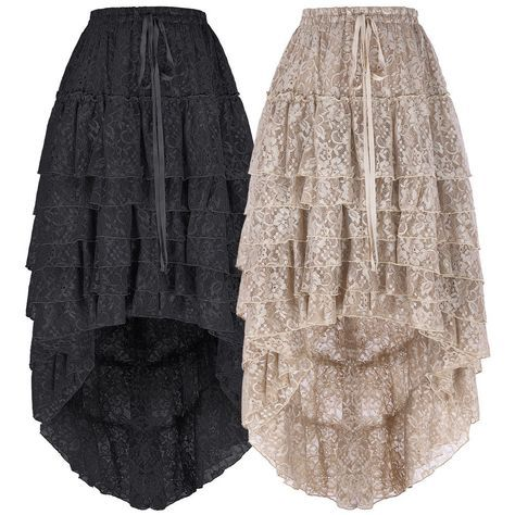 Vintage Gothic Victorian Steampunk Skirt High Low Women/'s Lace Dresses