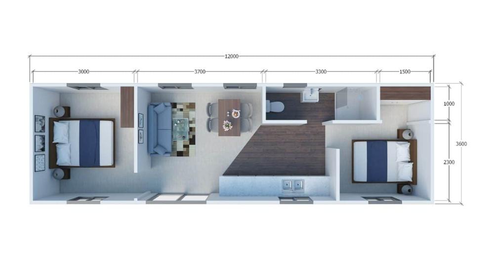 1 or 2 Brm Tiny House 12m x 3.6m Tiny house, L shaped