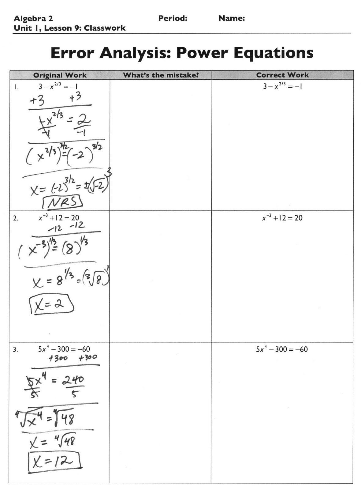 The Exponential Curve Algebra 2 Error Analysis Error Analysis Algebra 2 Teaching Algebra