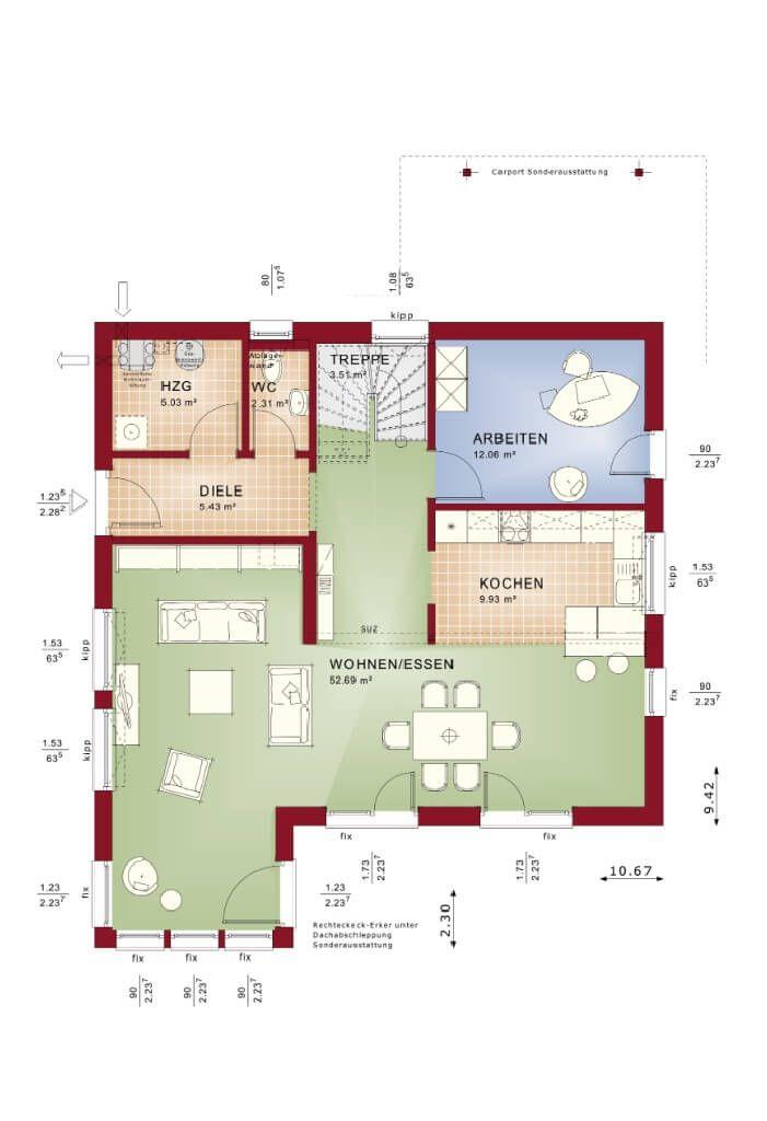 Grundriss Fertighaus Erdgeschoss - Haus Evolution 165 V6 Bien - küche mit kochinsel grundriss