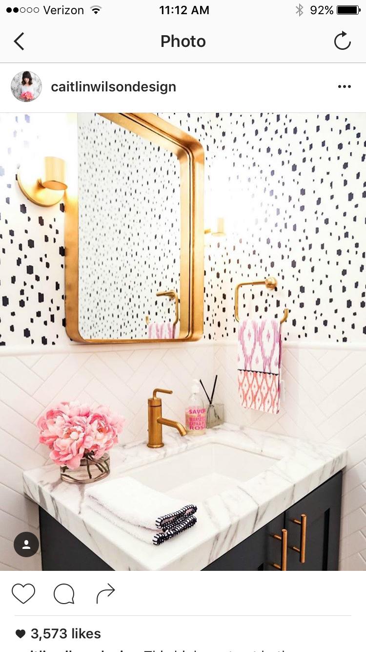 Gold And Wallpaper Powder Room Bathroom Inspiration Girls
