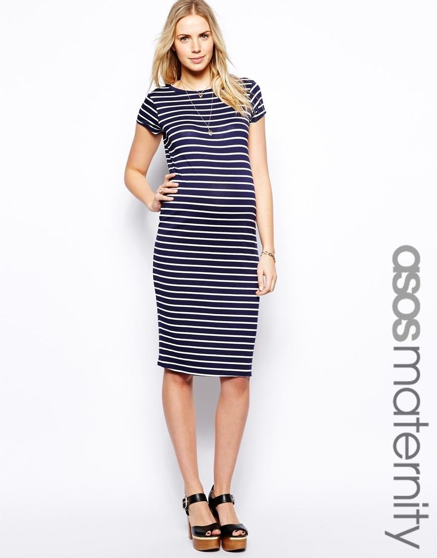 ASOS Maternity | ASOS Maternity Midi Body-Conscious Dress In Stripe ...
