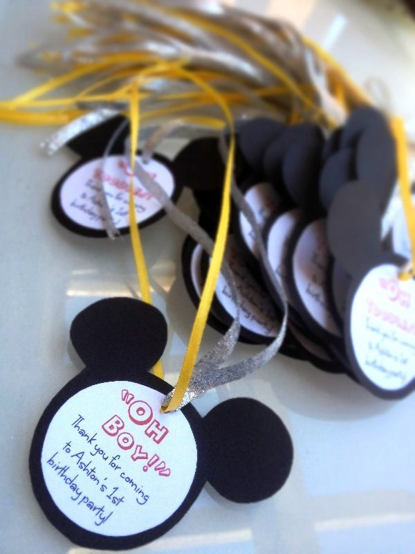 Mickey Mouse Ears Favor Tags For The Ribbon Wands