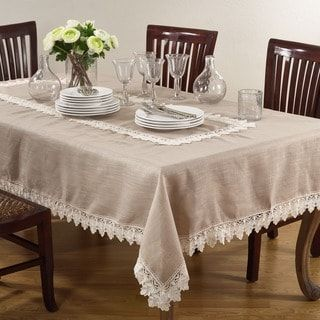 Lace Trimmed Tablecloth 54 X 54 Square Tan Saro Lifestyle Polyester Embroidered Table Linens Decor Rustic Tablecloths