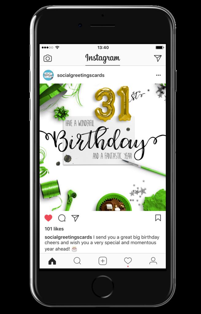 31st Birthday Card Green
