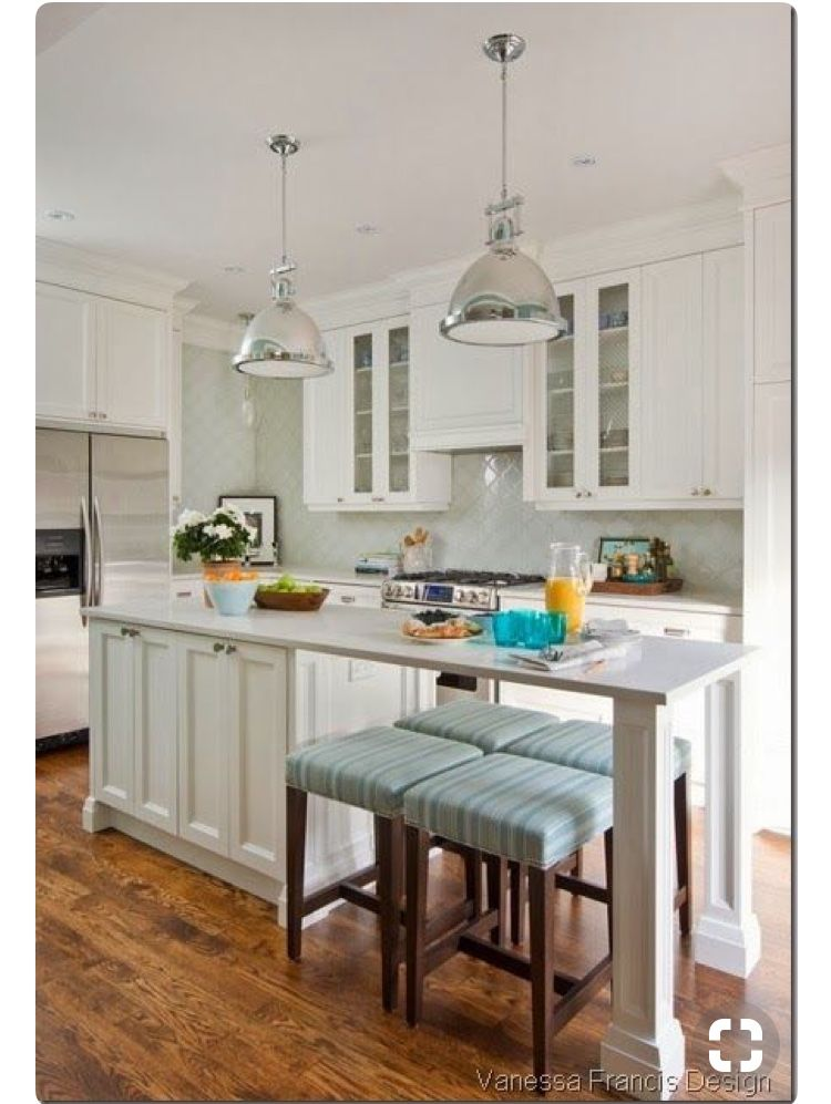 Long Thin Island With Stool Seating Kitchen Design Small