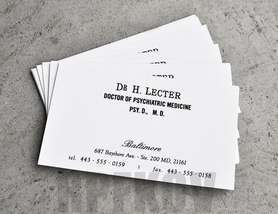 This Sale Is For A Set Of  Hannibal Lecter Business Cards Based