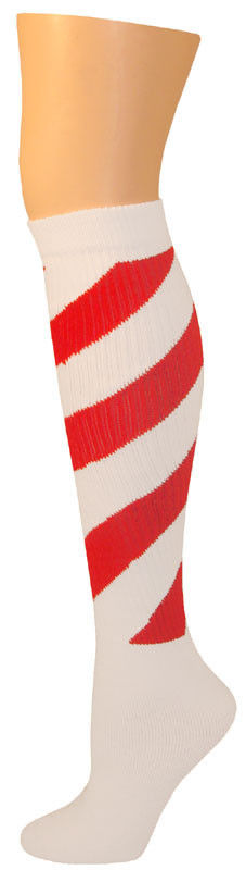 6c3fe0f576d Candy Cane Peppermint Elf North Pole Swirl Christmas Knee Socks Adult Santa  Red  AJsSocks  KneeHigh