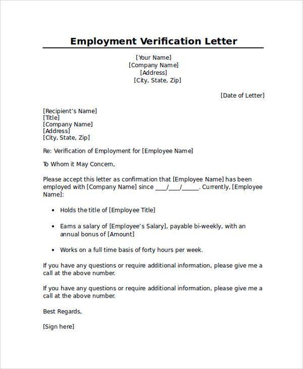 Proof Of Employment Letter Template 01: Proper Sle Employment Verification Letter Letter