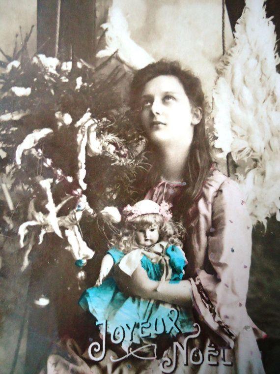 Antique angel postcard - Doll wings woman, Edwardian dress, Christmas tree…