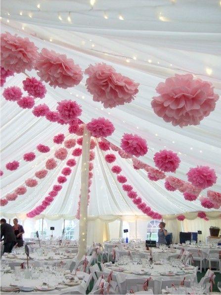wedding buffet decorations ideas pom pom spider web pattern - Pom Pom Decorations