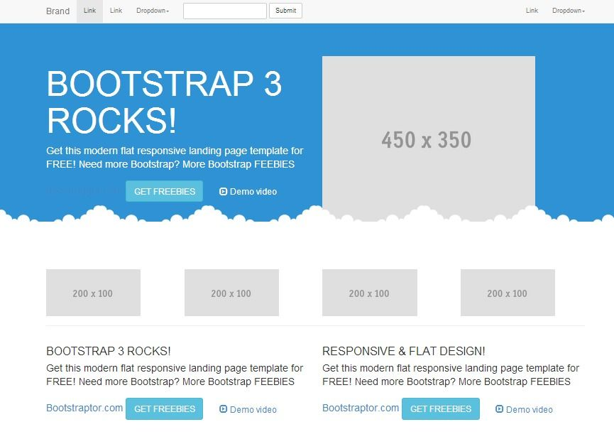 Free #Bootstrap 3 landing page flat style responsive template - bootstrap resume template