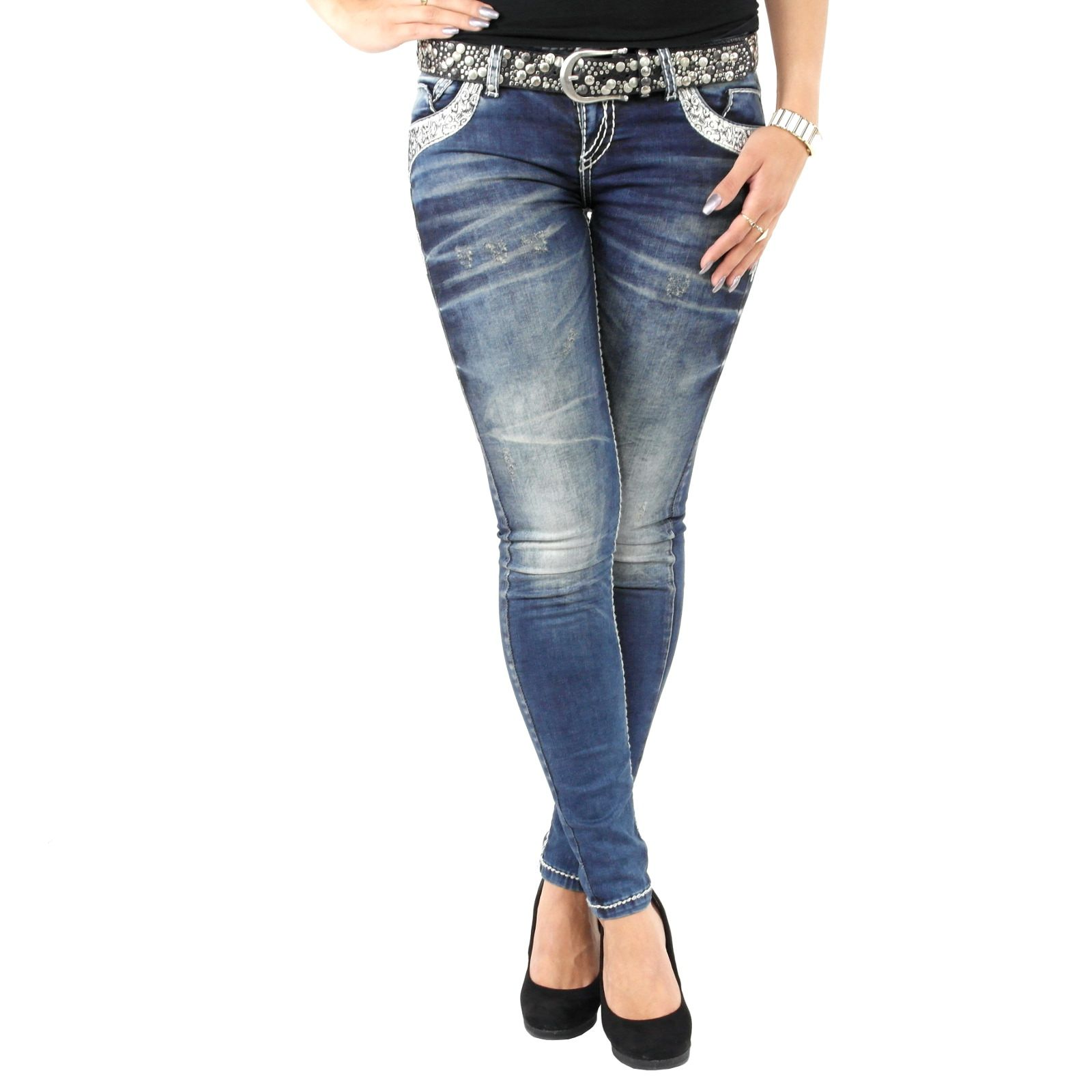 Stylefabrik Fashion stylische Damenjeans der Marke Cipo   Baxx in blau Slim  Fit mit weißen Kontrastnähten 5a26660933